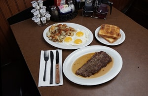 NY steak & eggs - Round the Clock